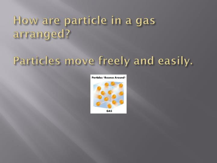 How are particle in a gas arranged?