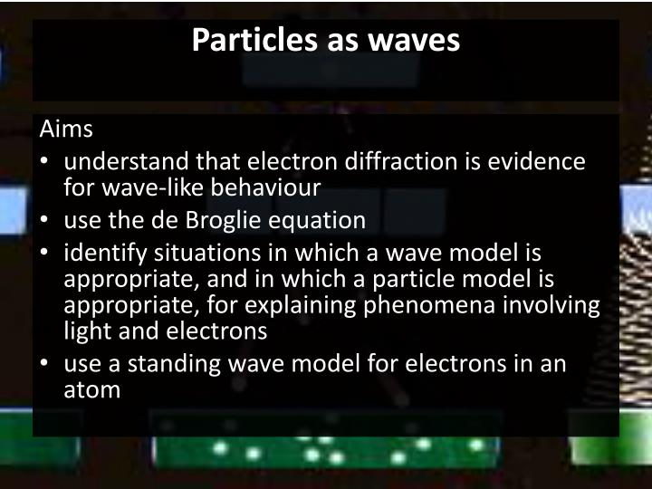Particles as waves1