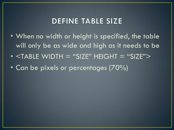 DEFINE TABLE SIZE