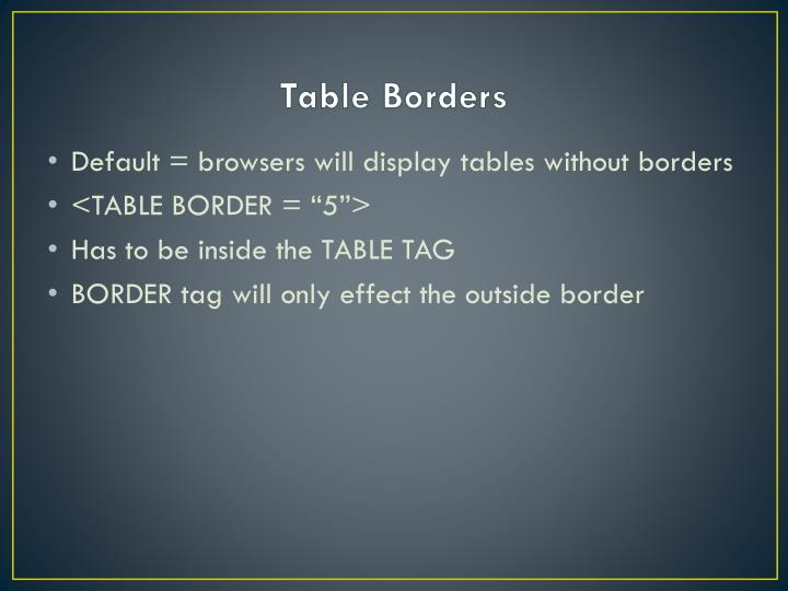 Table Borders