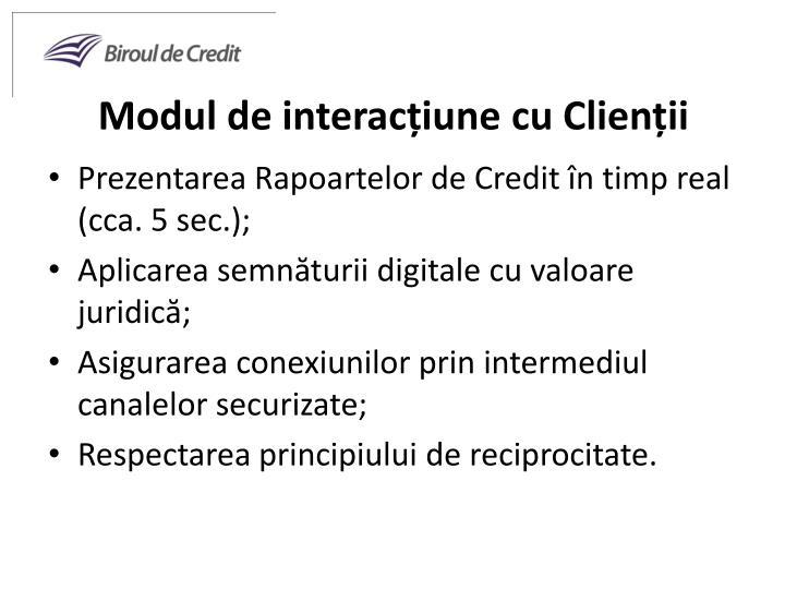 Modul de interacțiune cu Clienții