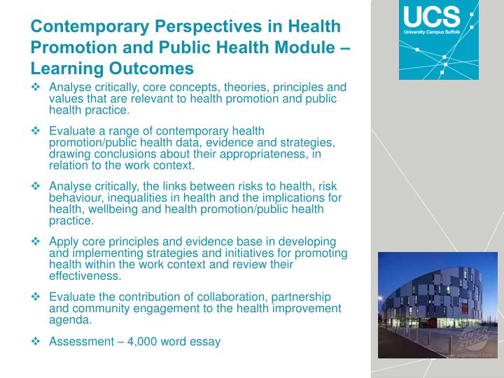 Contemporary Perspectives in Health Promotion and Public