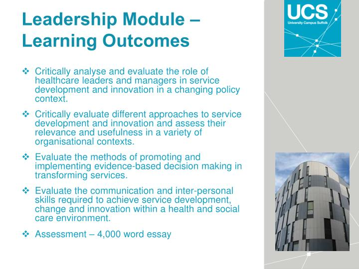 Leadership Module – Learning Outcomes