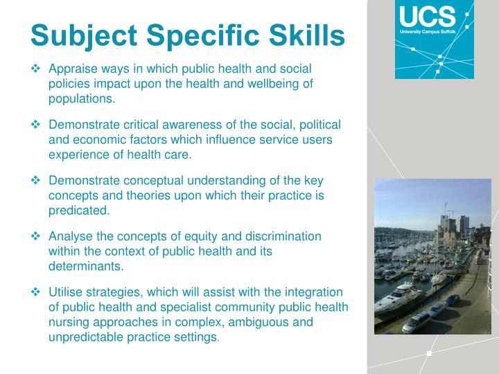 Subject Specific Skills