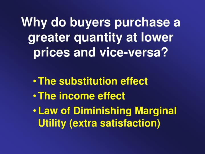 Why do buyers purchase a greater quantity at lower prices and vice-versa?