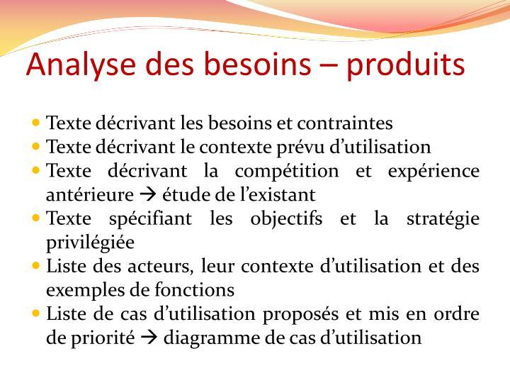 Analyse des besoins – produits