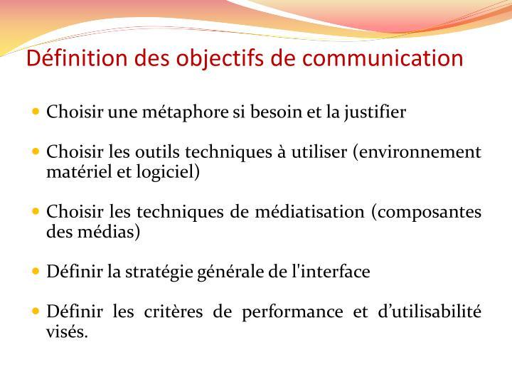 Définition des objectifs de communication