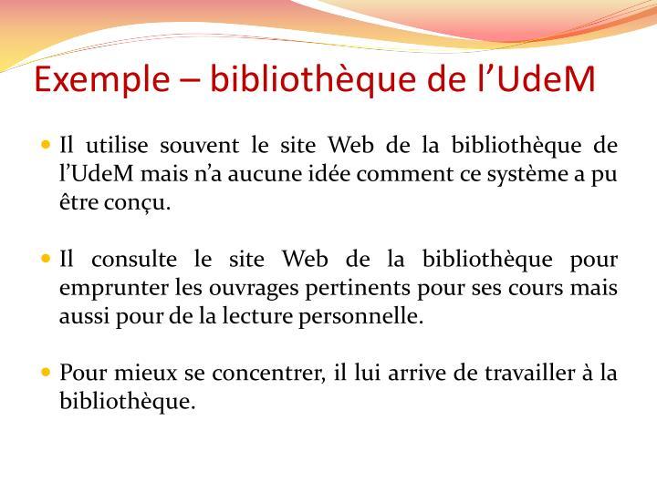 Exemple – bibliothèque de l'