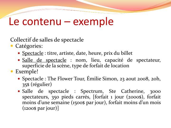 Le contenu – exemple