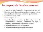 le respect de l environnement