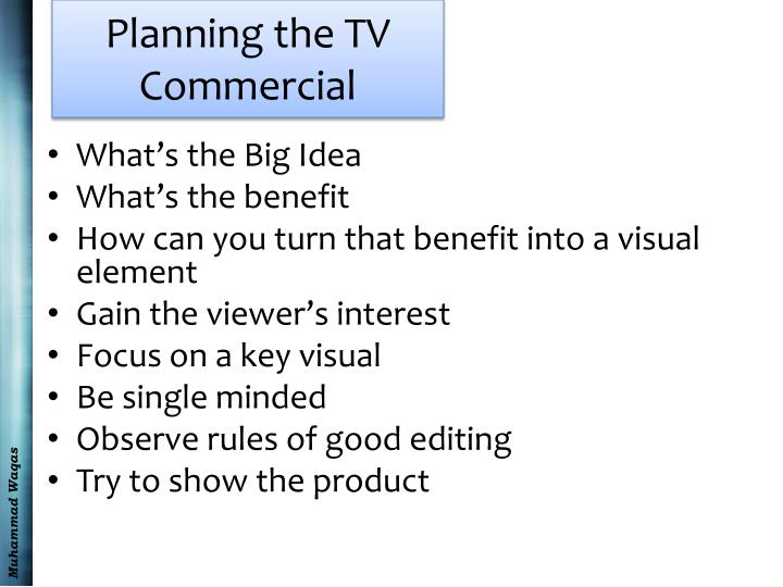Planning the TV Commercial