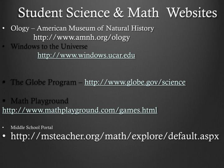 Student Science & Math  Websites