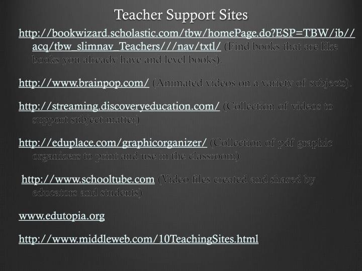 Teacher Support Sites