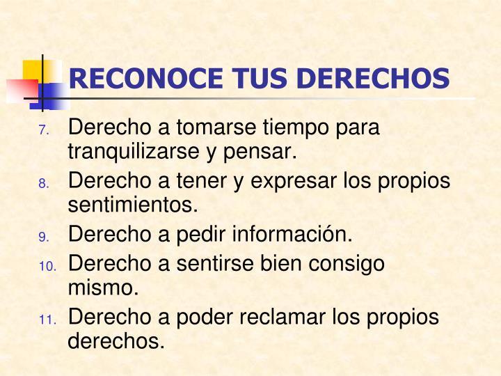 RECONOCE TUS DERECHOS
