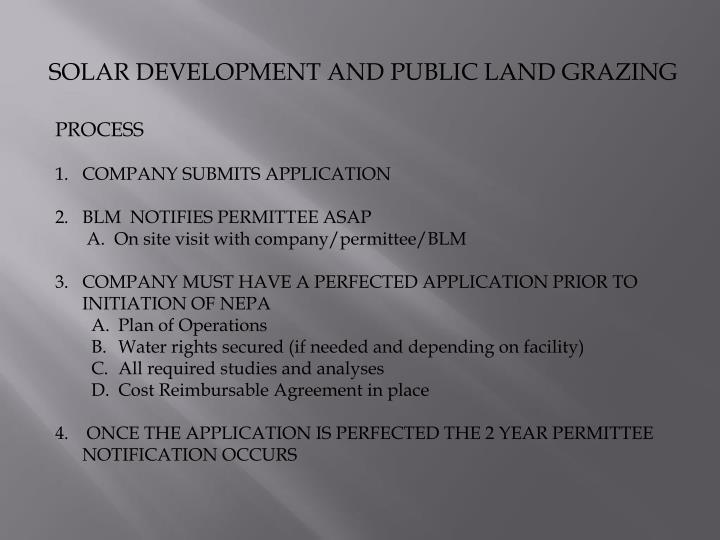 SOLAR DEVELOPMENT AND PUBLIC LAND GRAZING