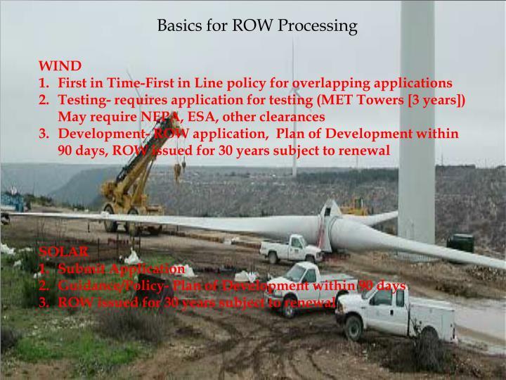 Basics for ROW Processing