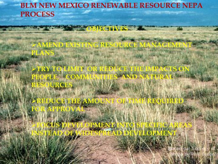 BLM NEW MEXICO RENEWABLE RESOURCE NEPA PROCESS