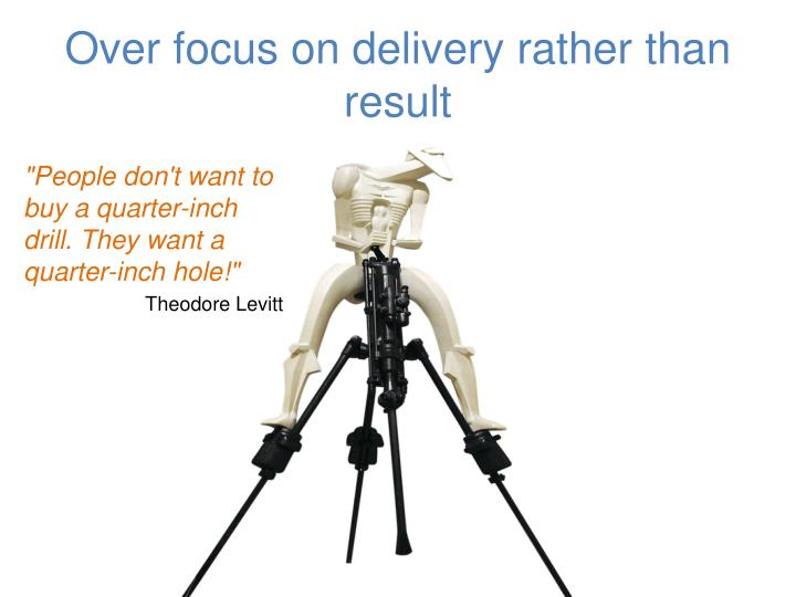 O ver focus on delivery rather than result