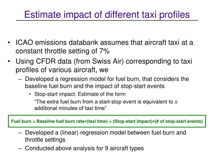 Estimate impact of different taxi profiles