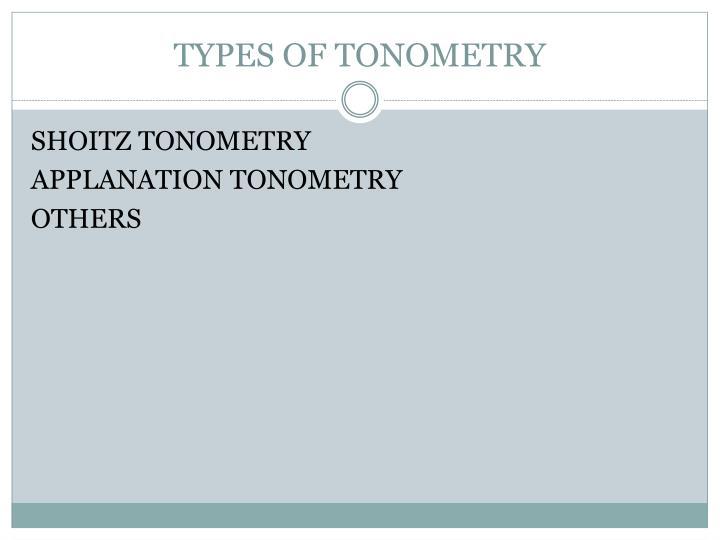 TYPES OF TONOMETRY