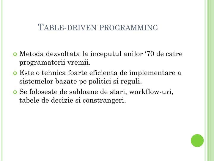 Table-driven programming