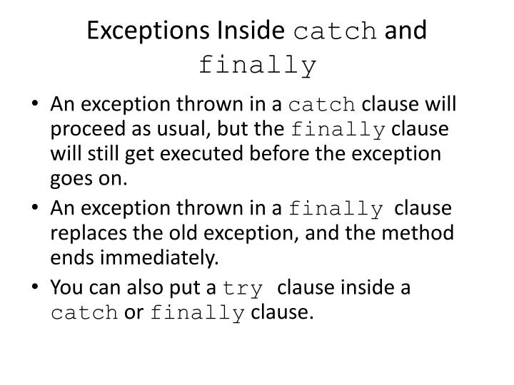 Exceptions Inside