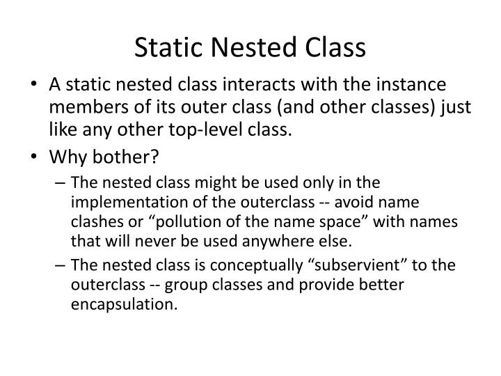 Static Nested Class