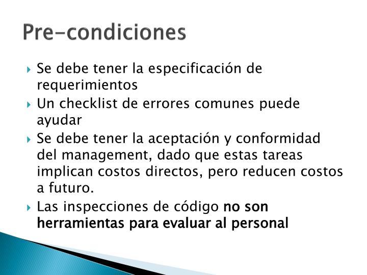 Pre-condiciones