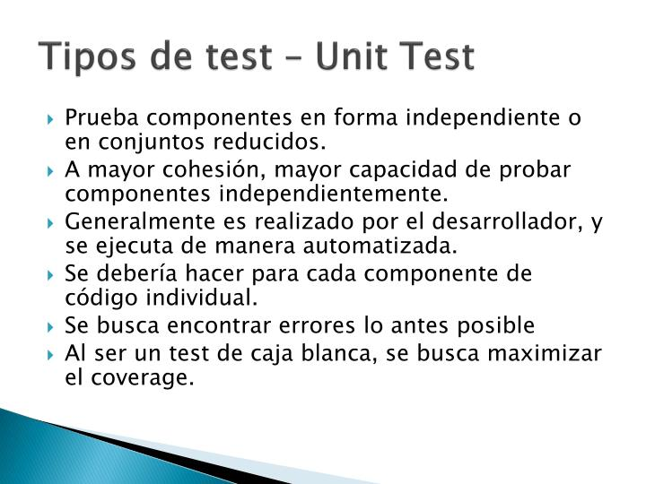 Tipos de test –