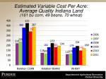 estimated variable cost per acre average quality indiana land 161 bu corn 49 beans 70 wheat