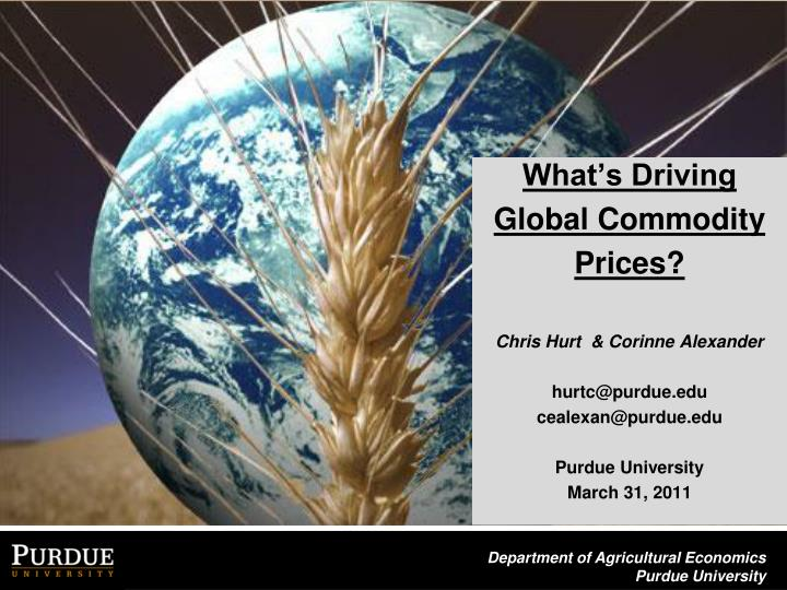What's Driving Global Commodity Prices?