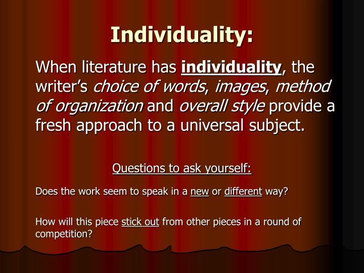 Individuality: