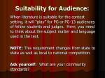suitability for audience