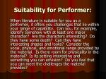 suitability for performer