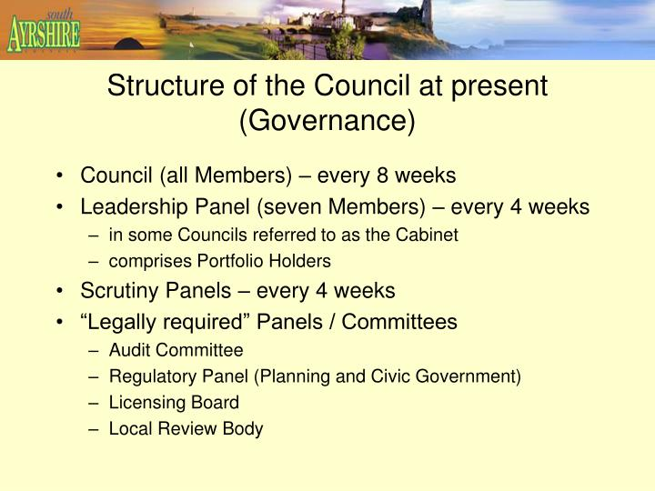 Structure of the Council at present