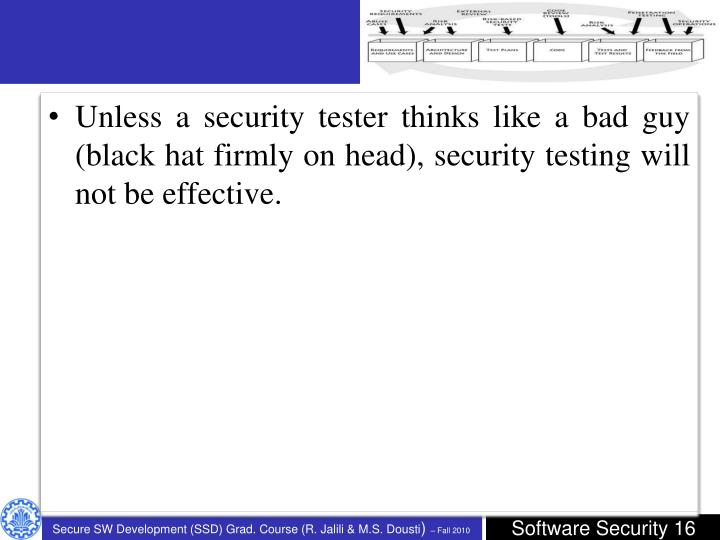 Unless a security tester thinks like a bad guy (black hat firmly on head), security testing will not be effective.