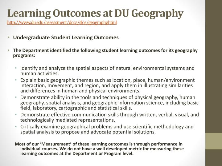 Learning Outcomes at DU Geography