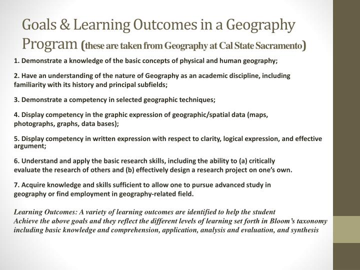 Goals & Learning Outcomes in a Geography Program