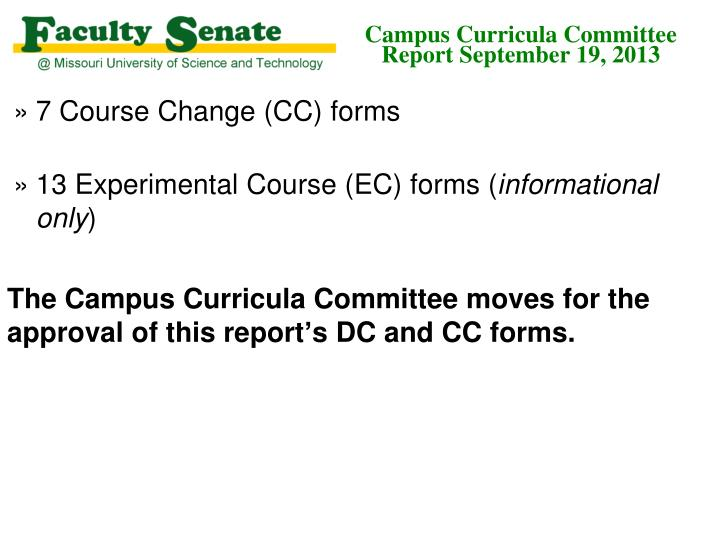 Campus curricula committee report september 19 20132