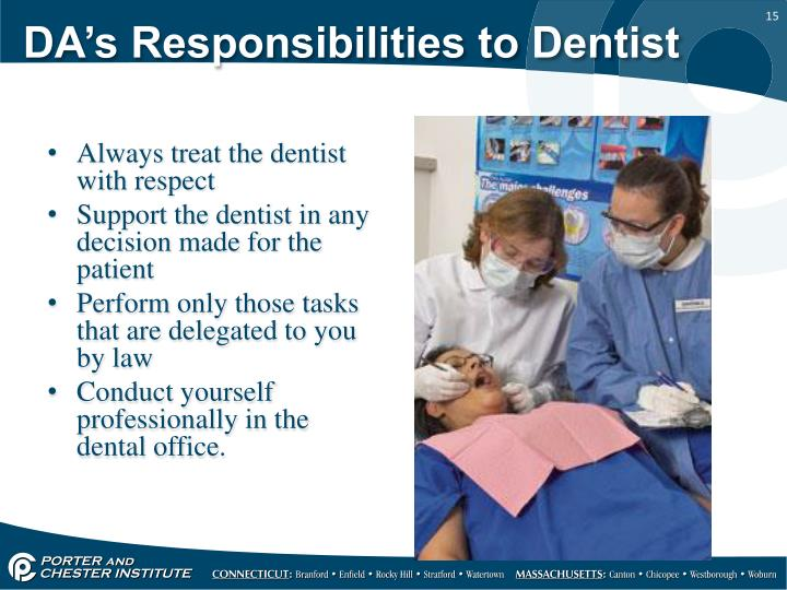 DA's Responsibilities to Dentist