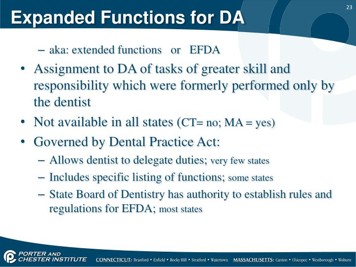 Expanded Functions for DA