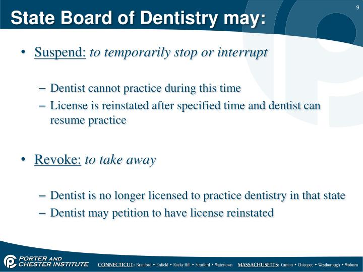 State Board of Dentistry may: