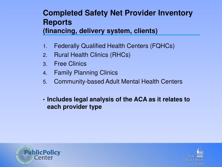 Completed Safety Net Provider Inventory Reports