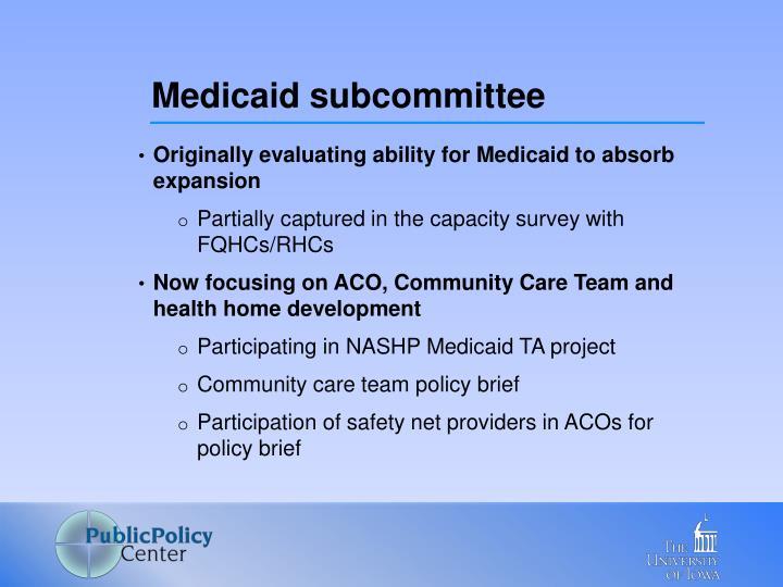 Medicaid subcommittee