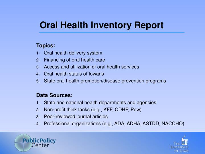 Oral Health Inventory Report