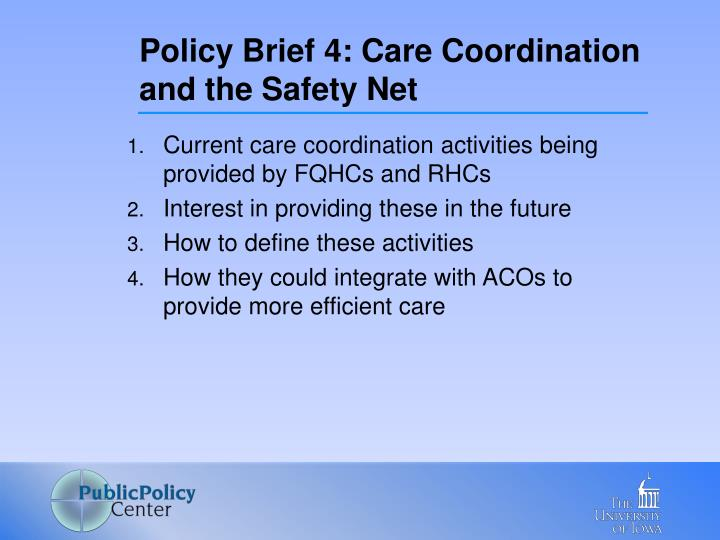 Policy Brief 4: Care Coordination and the Safety Net