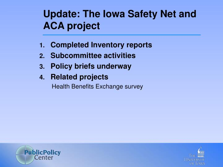 Update the iowa safety net and aca project