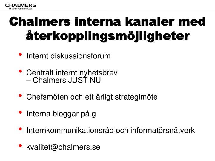Chalmers interna kanaler med