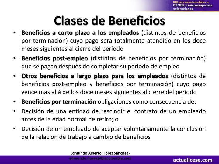 Clases de Beneficios