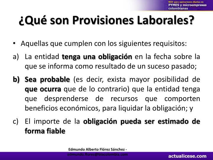 ¿Qué son Provisiones Laborales